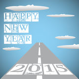 Endless road. Abstract colorful background with endless road in the sky among clouds and the year 2015 written at the beginning of the road. New Year theme Stock Image