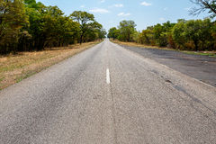 Endless road with blue sky. Endless road in Namibia, Caprivi Game Park, with blue sky Stock Photography