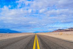 Endless road in the Death Valley stock image