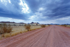 Endless road in Namibia moonscape landscape Royalty Free Stock Photos