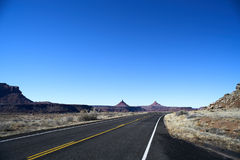 Endless road in Utah, winter, canyon lands nation park Stock Photos