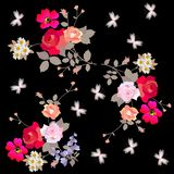 Endless romantic floral pattern with butterflies on black background.  vector illustration