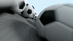 Endless soccer balls flight stock footage