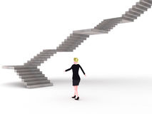 Endless stairs. A blonde executive amking the first move on a steep quest vector illustration