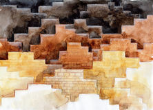 Endless steps. Painting of many mazes of bricks Stock Photo