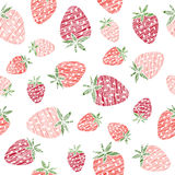 Endless strawberry texture, seamless berry background. Stock Photos