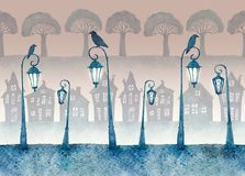 Endless street with lighted lanterns painted in watercolor. Seamless pattern. Endless street with lighted lanterns, ravens and silhouettes of houses and trees royalty free illustration