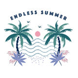 Endless summer Vector illustration of a hand drawn palm trees. vector illustration