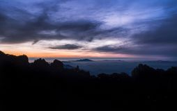 Endless Sunset of Huangshan National Park stock photo