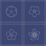 Endless texture. Japanese Embroidery Ornament with  blooming sakura flowers. Stock Photography