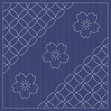 Endless texture. Japanese Embroidery Ornament with circles and blooming cherry flowers. Royalty Free Stock Photography