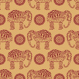 Endless texture with stylized patterned elephant and mandala in Indian style. Royalty Free Stock Photo
