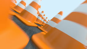 Endless traffic cones flight stock video footage