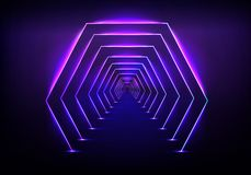Futuristic tunnel glowing neon illumination vector. Endless tunnel optical illusion, science fiction rocket launching runway or teleport illuminating fluorescent vector illustration