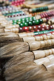 Endless variety of paintbrushes. Close up of collection paintbrushes often used for calligraphy, Panjiayuan market, Beijing, China Stock Image