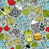 Endless wallpaper with birds, food and floral elements. Vector illustration of nature vector illustration