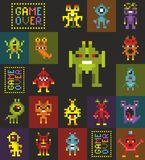 Endless wallpaper with pixel art. Retro style monsters from video game. Vector seamless pattern stock illustration