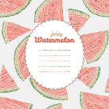 Endless watermelon texture, repeating fruit background. Text frame. Royalty Free Stock Photography