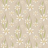 Endless white flowers. A seamless pattern of fantasy flowers and leaves Royalty Free Stock Image