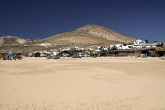 Endless wide tideland in the lagoon of Gorriones, Playa de Sotavento, Costa calma, Fuerteventura, Spain. Endless wide tideland in the lagoon of Gorriones, Playa royalty free stock images