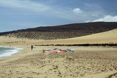 Endless wide tideland in the lagoon of Gorriones, Playa de Sotavento, Costa calma, Fuerteventura, Spain royalty free stock images
