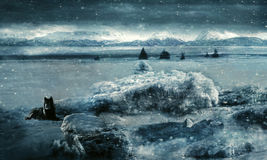Endless Winter. Fantasy scene with a woman frozen in the ice with a wolf standing guard created with texture layers and photo manipulation Stock Image