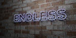 ENDLOS - Glühende Leuchtreklame auf Steinmetzarbeitwand - 3D übertrug freie Illustration der Abgabe auf Lager stock abbildung