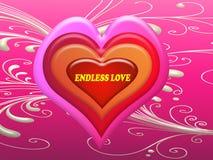 Endlose Liebesmitteilung auf dem Herzen im Valentinstag Stockbild