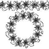 Endlose Muster-Bürste, runde Girlande mit Anise Star Seeds, Stücke von gewürfeltem Apple Kranz-Rahmen von Gewürzen Gemauserter We Stockfotografie
