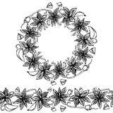 Endlose Muster-Bürste, runde Girlande mit Anise Star Seeds, Stücke von gewürfeltem Apple, Vanille-Hülse Kranz-Rahmen von Gewürzen Stockfoto