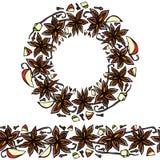 Endlose Muster-Bürste, runde Girlande mit Anise Star Seeds, Stücke von gewürfeltem Apple, Vanille-Hülse, Nelken Kranz-Rahmen von  Stockfotografie