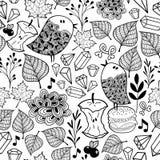 Endlose Schwarzweiss-Tapete mit netten Vögeln und Gekritzelanlagen stock abbildung