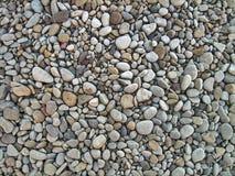 Endlose trockene Seekiesel, Beschaffenheit, Hintergrund Kiesel grau, klein, oval stockbild