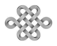 Endloser Knoten gemacht von gekreuzten Metalldrähten Buddhistisches Symbol (JPG +EPS) Auch im corel abgehobenen Betrag stock abbildung