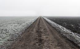 Endloser Schotterweg in der Natur lizenzfreies stockbild
