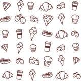 Endloses Lebensmittelmuster/-ikone/-ikonen/-einfaches Stockbild