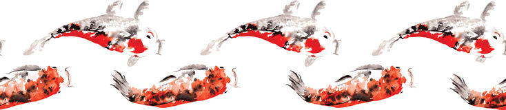 Endloses schmales Muster verflochtenen japanischen Karpfen koi Lizenzfreies Stockfoto