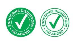 Endocriene verbrekers geen toegevoegd vector groen vinkjepictogram De gezonde zegel van het natuurvoedingpakket, geen EDC of endo stock illustratie