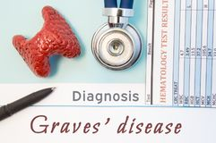 Endocrinology diagnosis Graves` disease. Figure of thyroid gland, result of laboratory analysis of blood medical stethoscope and b. Lack pen lying near text stock images