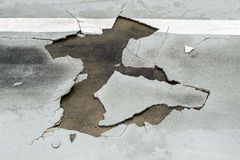 Endommagement des routes Image libre de droits