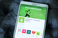 Endomondo που τρέχει και που περπατά αρρενωπό app Στοκ Εικόνα