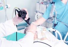 Endoscopic mottagande på sjukhuset. Arkivfoto