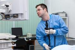 Endoscopist del doctor Fotos de archivo libres de regalías