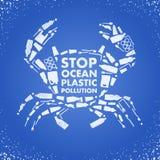 Endozeanplastikverschmutzung Ökologische Plakat Krabbe bestanden aus weißer überschüssiger Plastiktasche, Flasche auf blauem Hint vektor abbildung