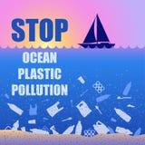 Endozeanplastikverschmutzung ?kologisches Plakat mit Text Sonnenuntergang, Sonnenaufgang, Boot und Abfall Kontrastieren Sie dort  vektor abbildung