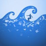 Endozeanplastikverschmutzung ?kologisches Plakat Surfer auf den Wellen Es gibt Plastikabfall, Flasche, Tasche auf blauem Hintergr stock abbildung