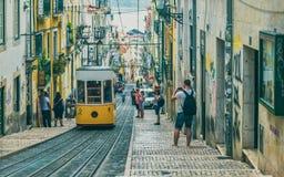 Endroit célèbre d'ascenseur de Lisbonne pour le tourisme images libres de droits