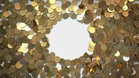 Endroit circulaire pour Logo Made par les pièces de monnaie en baisse banque de vidéos