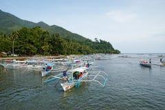 Endroit d'atterrissage de bateau dans Sabang, Philippines Photographie stock libre de droits