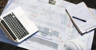Endroit d'espace de travail d'ingénierie de concept de bureau de travail Photos libres de droits